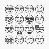 Cute emoticons and character faces icons set Royalty Free Stock Photography