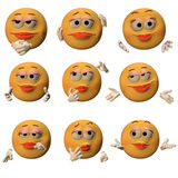 Cute emoticons - girls Stock Photos