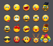 Cute emoticons set, emoji  -  illustration Stock Images