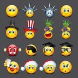 Cute emoticons set, emoji - smiley - vector illustration Royalty Free Stock Images