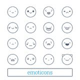 Cute emoticons thin line icons set. Linear style smiley symbols. Simple people face expressions for social network chat. vector illustration