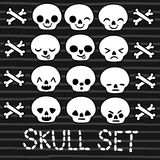 Cute emotion skull set for Halloween design Royalty Free Stock Photography