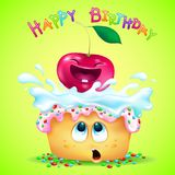Cute emotional cupcake and funny cherry. On green background congratulate happy birthday vector illustration