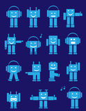 Cute emotional robots. Set of blue cute emotional robots. Cartoon Royalty Free Stock Images