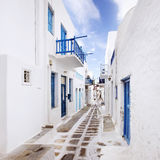 Cute Empty Street. Quaint, colorful street in Mykonos, Greece. Square Crop stock photography