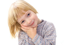 Cute endearing child isolated on white. Cute endearing child. boy smiling isolated on white. kid being appealing Stock Photography