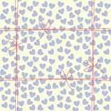 Cute endless pattern with blue hearts and red bows Stock Image