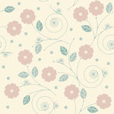 Cute endless pattern with flowers, leaves and snails Stock Photos