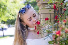 Cute engaging girl with beautiful flowers royalty free stock photos