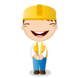 Cute engineer on white background Stock Photography