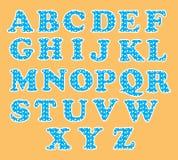 Cute English alphabet set with circle pattern. Cute English alphabet vector illustration set with circle pattern showing on orange background Stock Image