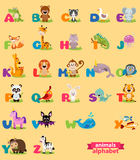Cute english illustrated zoo alphabet with cute cartoon animal Royalty Free Stock Images