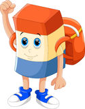 Cute eraser cartoon with backpack Royalty Free Stock Image