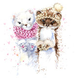 Cute ermine T-shirt graphics, watercolor ermine illustration Stock Photos