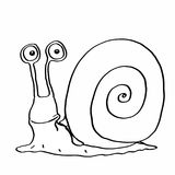 Cute escargot and coloring. And white background Stock Photography