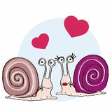 Cute escargot and cute female escargot and hearts. And white background Royalty Free Stock Images