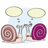 Cute escargot and cute female escargot and thinking. And white background Stock Image