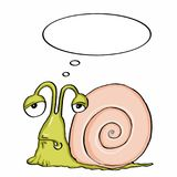 Cute escargot and sick and thinking. And white background Stock Photo