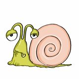 Cute escargot and sick. And white background Royalty Free Stock Images
