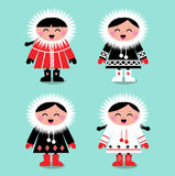 Cute eskimo kids group. Happy eskimo children in retro style. Vector Illustration Royalty Free Stock Photos