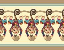 Cute ethnic hang monkey seamless ribbon pattern Stock Images