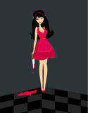 Cute evil girl with a bloody knife Royalty Free Stock Photography