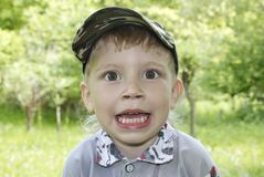 Cute excited little  boy Stock Image