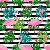 Cute exotic tropical seamless background with cartoon characters of pink flamingos. And palm leaves for your decoration Stock Photo