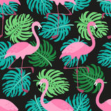 Cute exotic tropical seamless background with cartoon characters of pink flamingos. And palm leaves for your decoration Stock Photos