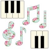 Cute fabric music notes and piano keys as applique in shabby chic style. For scrap booking, as decorative elements for country music events Stock Photos