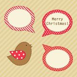 Cute fabric paradise birds as retro fabric applique in shabby chic style in traditional Christmas colors Stock Photo