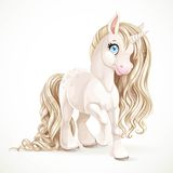 Cute fabulous unicorn with golden mane Royalty Free Stock Images