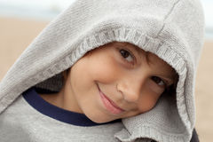 Cute face. Portrait of a little bot smiling outdoors Royalty Free Stock Photo