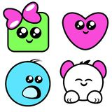 Cute Face Cartoons. A cute collection of 4 cartoons Royalty Free Stock Images