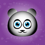 Cute face of panda on violet background  Stock Photography