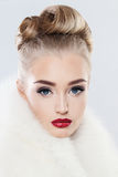 Cute Face. Woman with Makeup, Fashionable Hairstyle Royalty Free Stock Photos