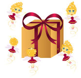 Cute fairies with gift. Set of cute fairies with gift box Stock Images