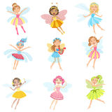 Cute Fairies In Pretty Dresses Girly Cartoon Characters Set Stock Photo