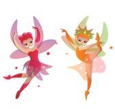 Cute fairies In Pretty Dresses Stock Image