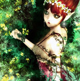 Cute Fairy. Digital cute fairy portrait for your artistic creations and/or projects Royalty Free Stock Photos