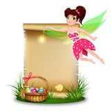 Cute fairy with blank paper. Easter background with copy space for text Stock Image