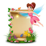 Cute fairy with blank paper in spring time Stock Image