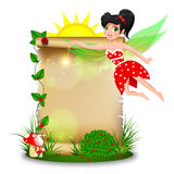 Cute fairy with blank paper in summer time stock illustration