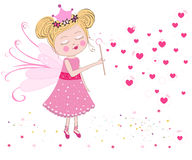 Cute fairy blows soap bubbles. Heart balloon bubbles. Valentine's Day greeting card vector. Cute fairy blows soap bubbles. Heart balloon bubbles. Valentine's Day Stock Image