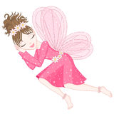 Cute fairy in bright pink dress is sleeping Royalty Free Stock Photos