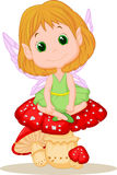 Cute fairy cartoon sitting on mushroom Stock Photography