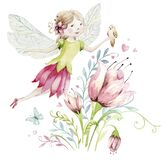 Cute Fairy character watercolor illustration on white background. Magic fantasy cartoon pink fairytale design. Baby girl