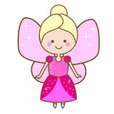 Cute fairy character. Winged elf princess in pink dress. Cartoon style, girls kids stickers Royalty Free Stock Photo