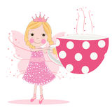 Cute fairy with coffee cup vector background Stock Image