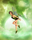 Cute fairy dancing in the moonlight Stock Photos